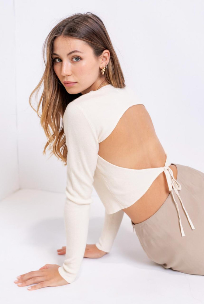 Cream Backless Cropped Sweater