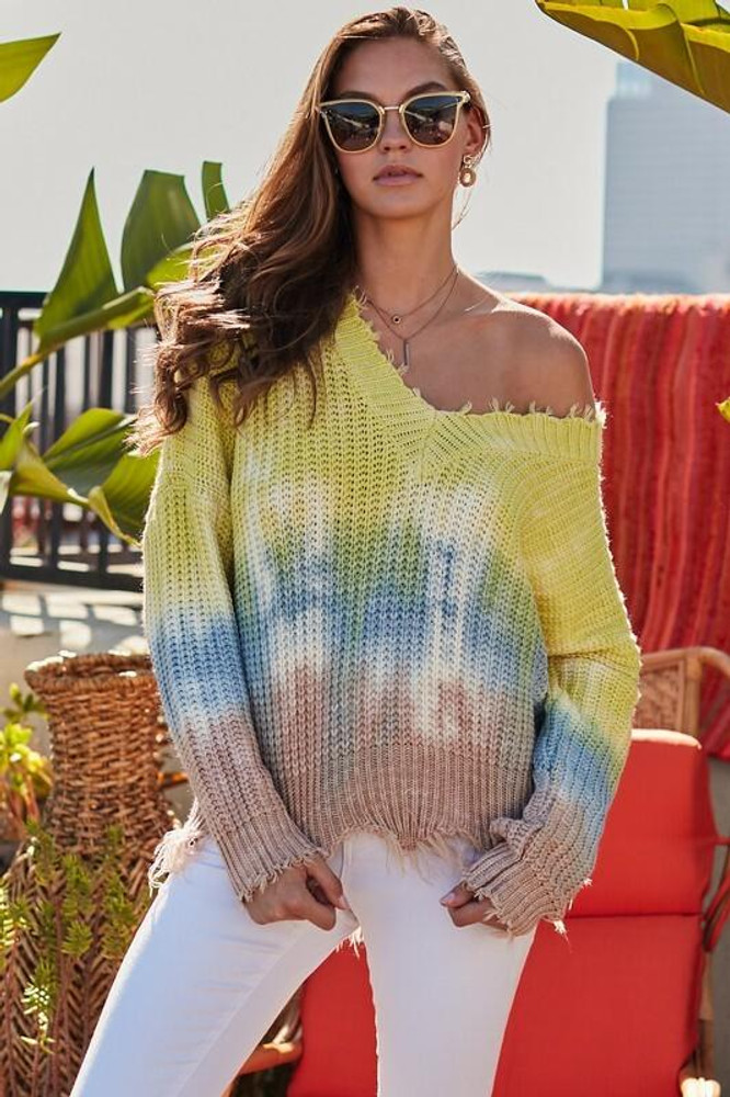 Lime Tie-Dye Print Ripped Sweater