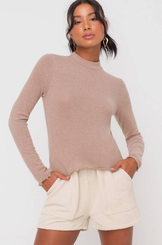 Lush Everything is Possible Latte Mock Neck Top