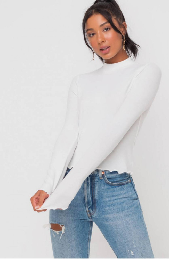 Lush Everything is Possible Off-White Mock Neck Top