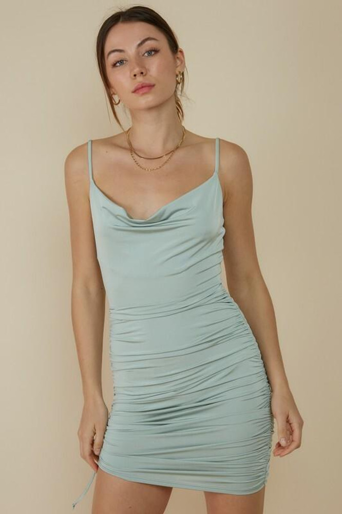 Blue Blush Forever Love Sage Ruched Bodycon Mini Dress