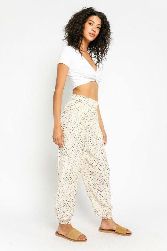 Olivaceous A Little Swagger Cream Speck Print Joggers