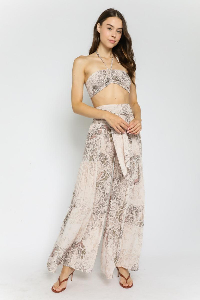 Snake Print Two-Piece Jumpsuit
