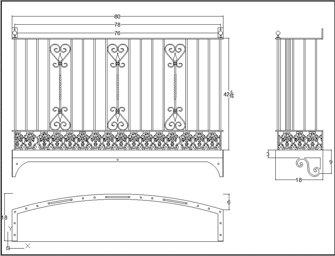 Curved planter base with decorative brackets