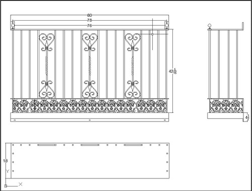 Rectangular planter base with no decorative brackets