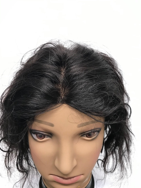 "Silk Top Wig, Glueless, Indian REMY, Color 1B, 12"", Natural Curl"