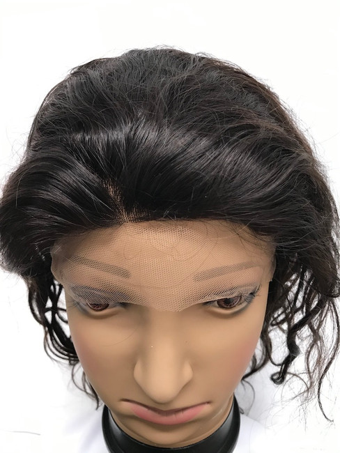 "French Lace Wig, 12"", color 2, Indian REMY, Light Body"