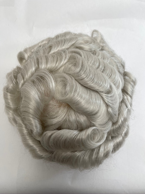 Men's Custom Hairpiece French Lace, Glass Silk Perimeter