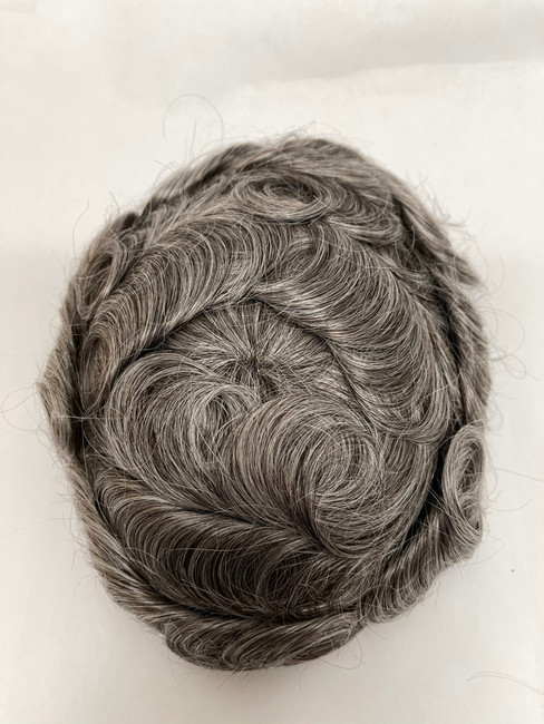 Men's Custom French Lace Hairpiece with Poly Perimeter