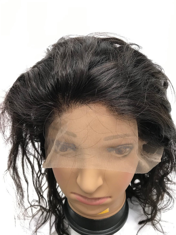 """360 Lace Wig, Glueless, Indian REMY, Natural Color, 12"""", Light Body"""