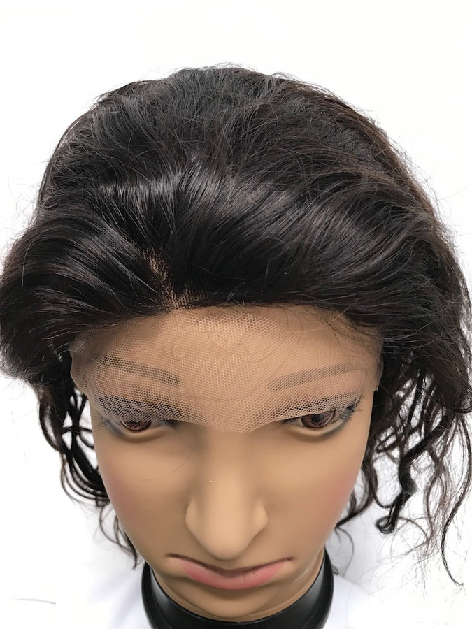 """French Lace Wig, 12"""", color 2, Indian REMY, Light Body"""