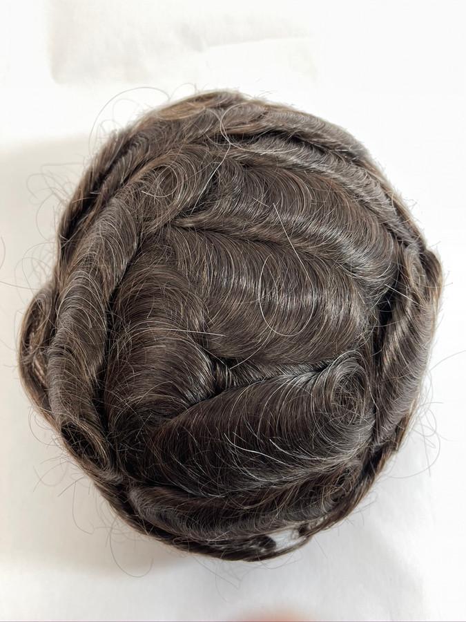 Men's Hairpiece Fine Mono with Glass Silk