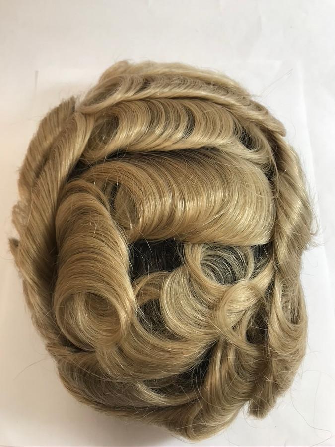 Men's Custom Skin Graft with Dark Roots Hairpiece