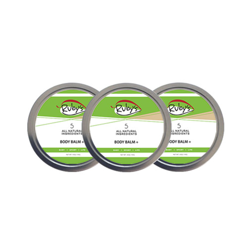 3 pack of Body Balm Plus 1 oz wax tins