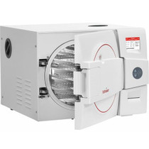 Front view with visible interior view of the Tuttnauer EZ11 Plus Fully Autoclave Automatic Refurbished