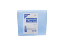"7106 Ambulance Cot Disposable Linens, Fitted Sheet, Extra Heavy Duty, Fluid Resistant 74"" x 30"" x 22"" Blue Non-Sterile 5/bg"