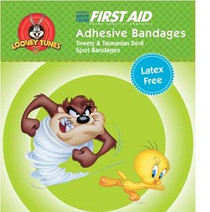 """Looney Tunes™ Adhesive Bandages Tweety and Taz Spot 7/8"""""""