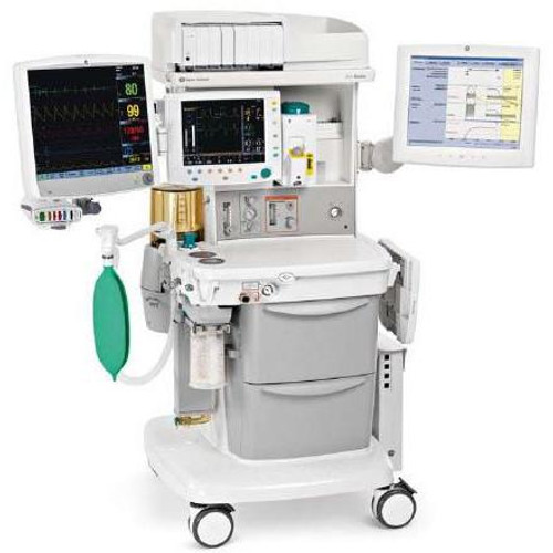 Front view of with GE Avance S5 Carestation Anesthesia Machine - Refurbished with accessories