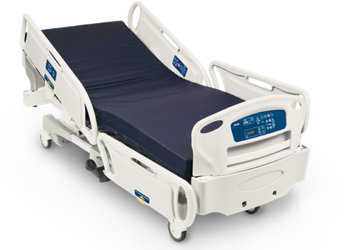 The image of a Stryker FL28C reflects the electric hospital bed's comfort, safety, and reliability for patients of professionals and at home care.