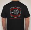 Back of black tshirt with FMW logo.