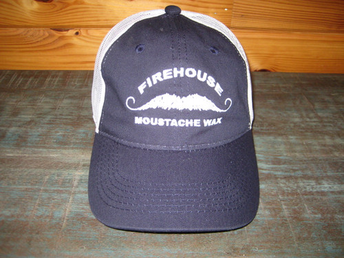 Firehouse Moustache Wax Embroidered Baseball Cap. Navy with white mesh back & Velcro closure.