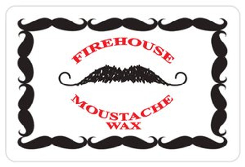 """Rounded rectangle sticker single with moustache border & logo - 3"""" x 2"""""""