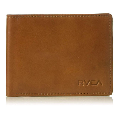 RVCA Men's Crest Leather Bi-Fold Wallet