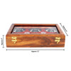 """12""""x8""""x3"""" Handmade Wooden Box with 6 Storage Bowls and Floral Brass Inlay - Image 6"""