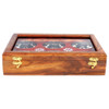 """12""""x8""""x3"""" Handmade Wooden Box with 6 Storage Bowls and Floral Brass Inlay - Image 1"""