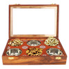 """12""""x8""""x3"""" Handmade Wooden Box with 6 Storage Bowls and Floral Brass Inlay - Image 5"""
