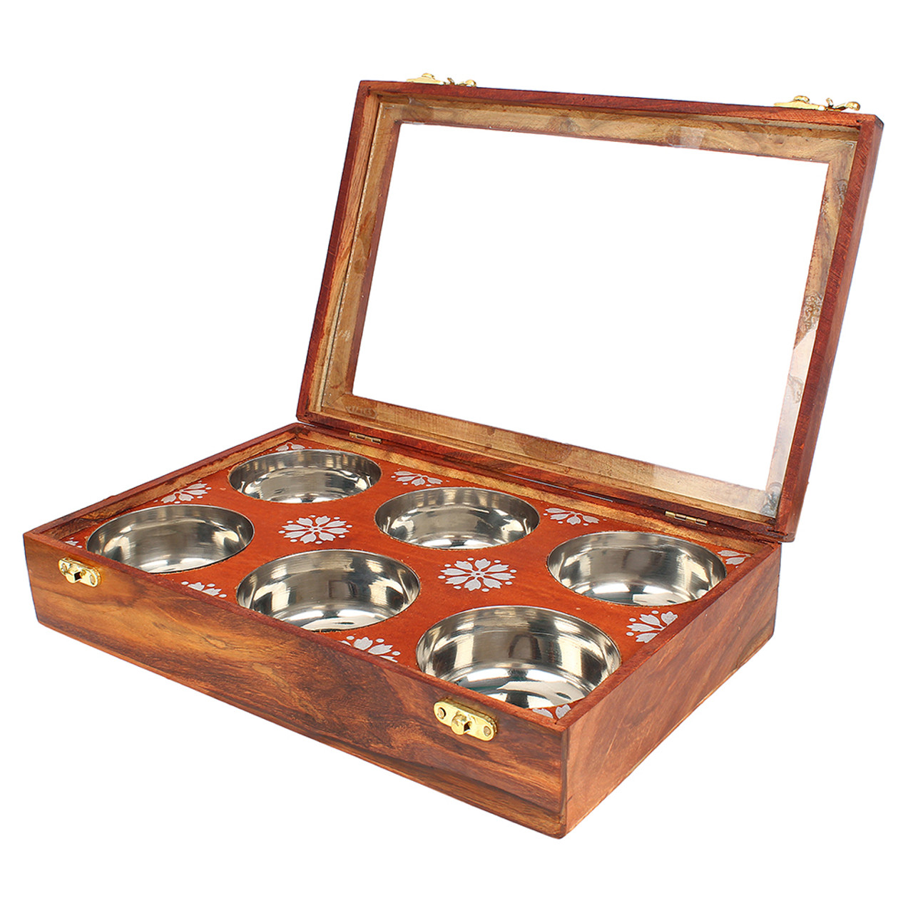 """12""""x8""""x3"""" Handmade Wooden Box with 6 Storage Bowls and Floral Brass Inlay - Image 4"""