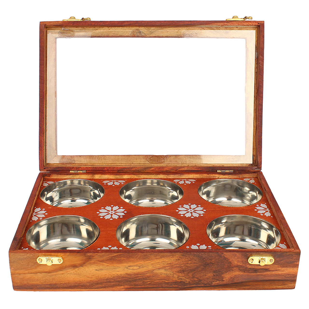 """12""""x8""""x3"""" Handmade Wooden Box with 6 Storage Bowls and Floral Brass Inlay - Image 3"""