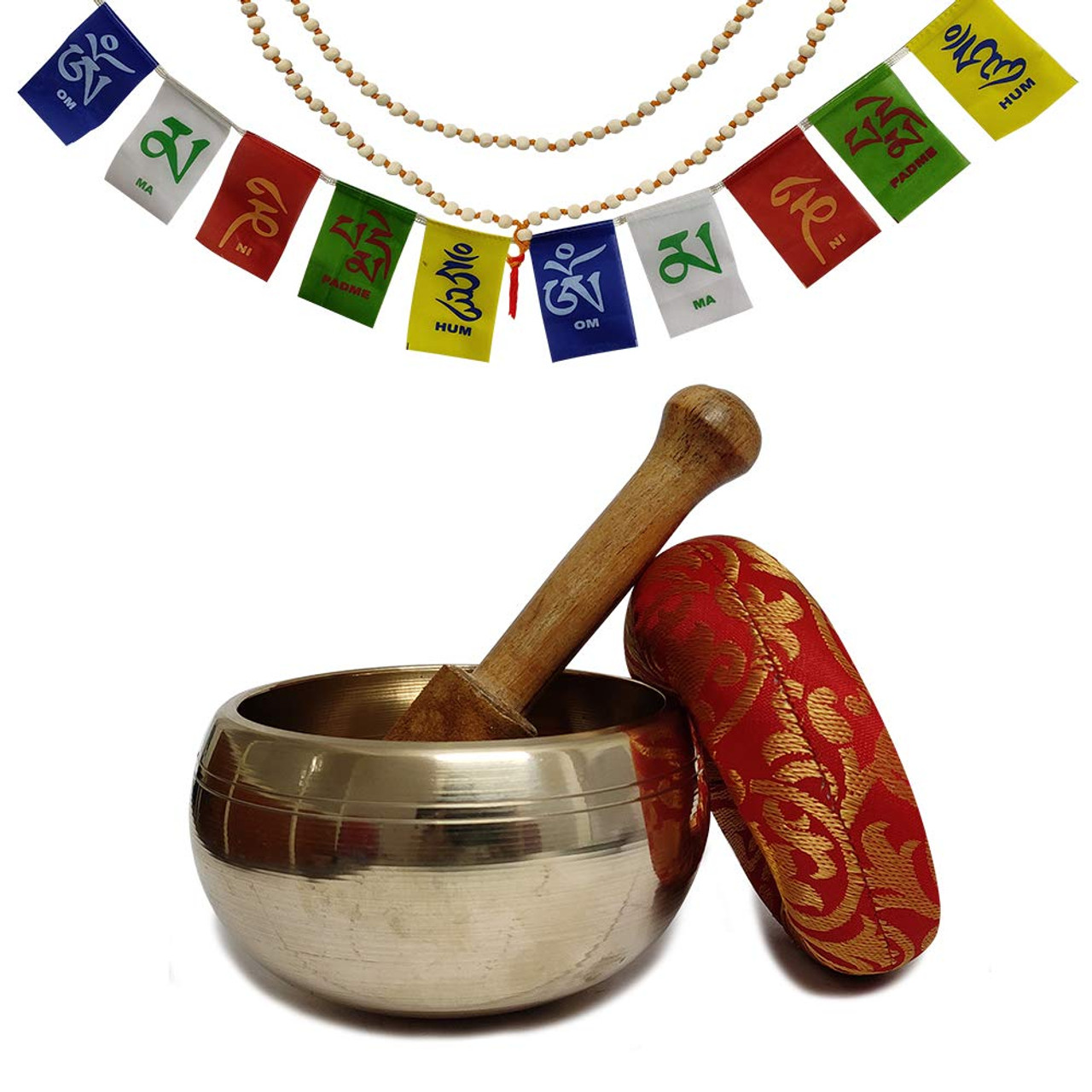Hand Crafted Tibetan 4 Inch Plain Finished Singing Bowl Set By Trumiri - Helpful for Meditation Chakra Healing Relaxation Peace Mindfulness with Premium Tulsi Beads, Flag, Mallet, Cushion & Potli (Bag)