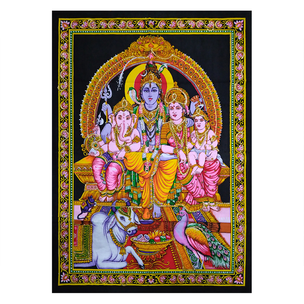 30 X40 Multicolor Lord Shiva And Family Printed Poster Size Sequence Tapestry