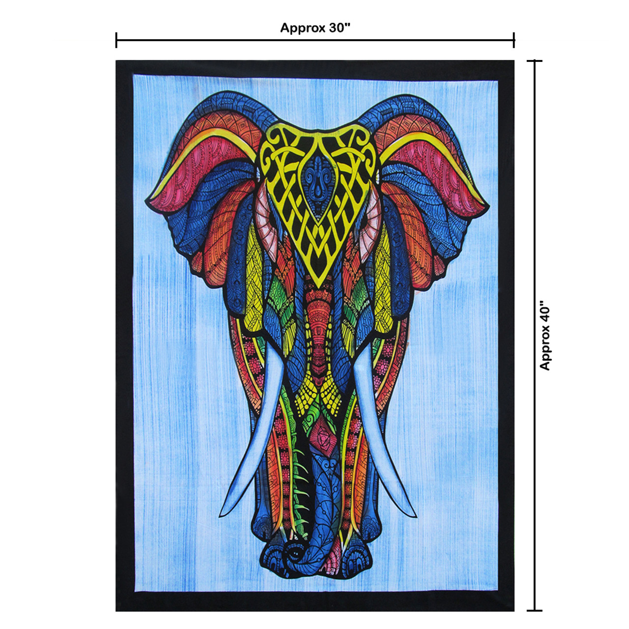 Elephant Mandala Cotton Table Cover Poster Size Ethnic Indian Wall Hanging Decor