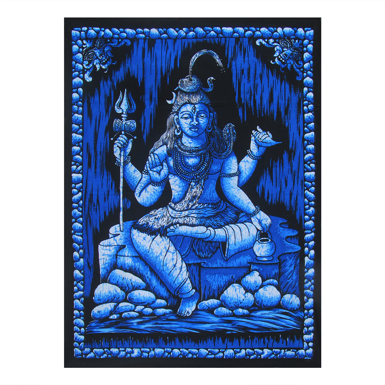 30 X40 Blue Black Lord Shiva Printed Multidie Poster Size Tapestry