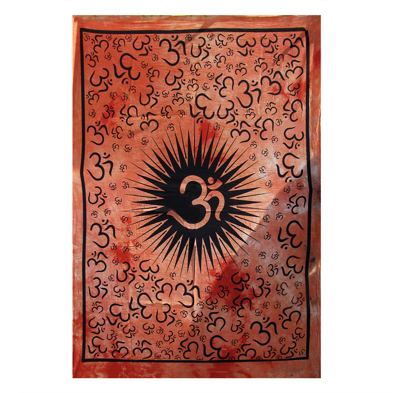 Indian Handmade Cotton Om Yoga Mat Tapestry Ethnic Poster Size Table cover Decor