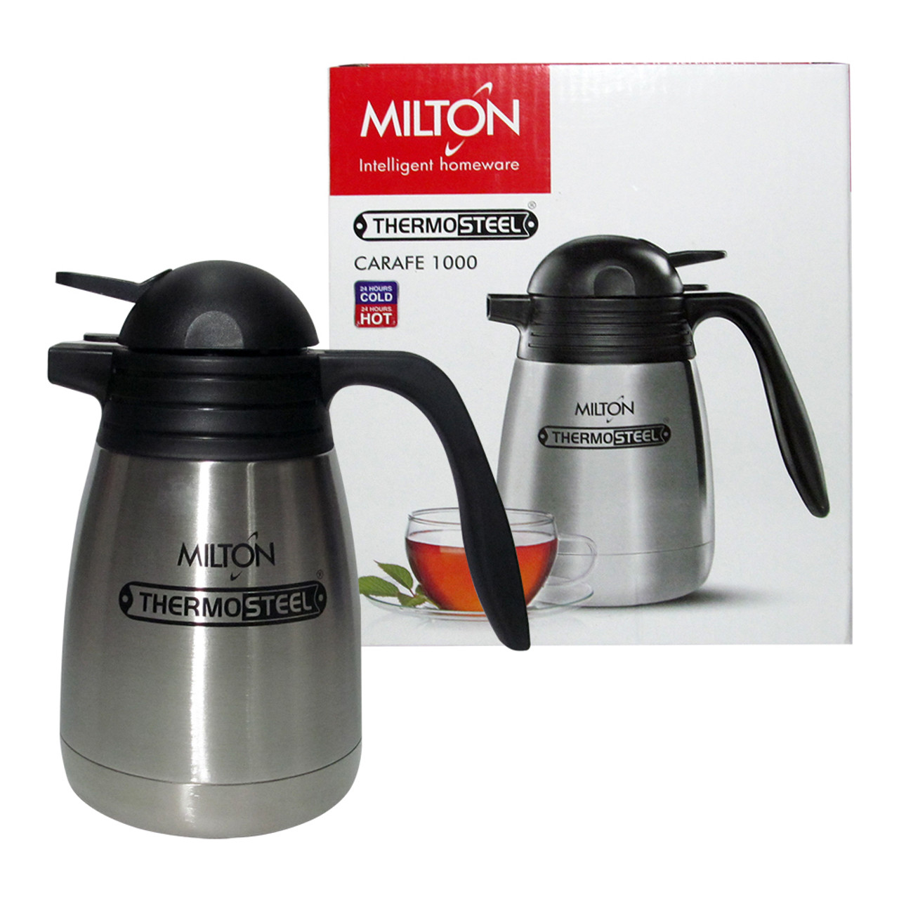 Milton Thermosteel Carafe, 1000 ML Vacuum Insulated Hot And Cold Flask - Image 1