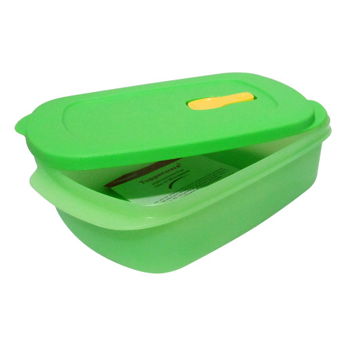 Tupperware Crystalwave Rect Gen Next Microwave Green Color 1L Container, Set of 2 - Image 2