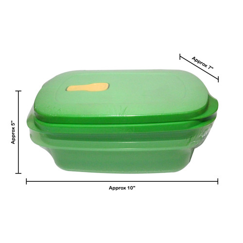 Tupperware Crystalwave Rect Gen Next Microwave Green Color Container, 1.7L Set of 2 - Image 2