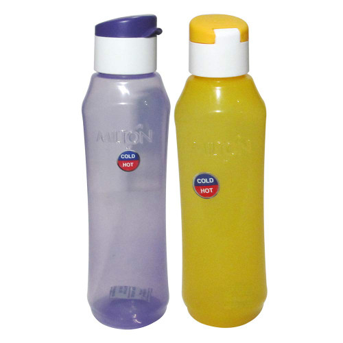 Milton Pyramid Flip Hot and Cold Set of 2 Assorted Bottles 1000 ML, for Girls Boys Men Women Kids School Sports Office Gym Jogging, Leak Proof, Durable Dishwasher Safe, Wide Mouth