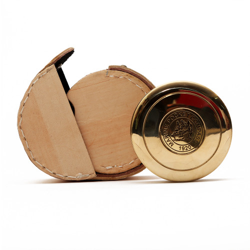 """3"""" Nautical Brass Marine Pocket Compass with Leather Cover - Image 2"""