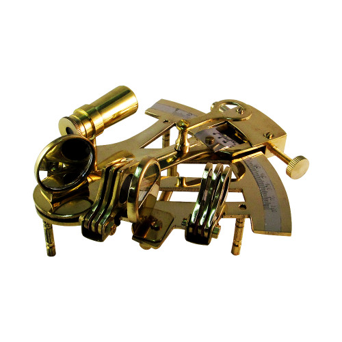 """4"""" Nautical Sailor Brass Sextant in Wood Box - Marine Antique Look Sextant - Image 2"""
