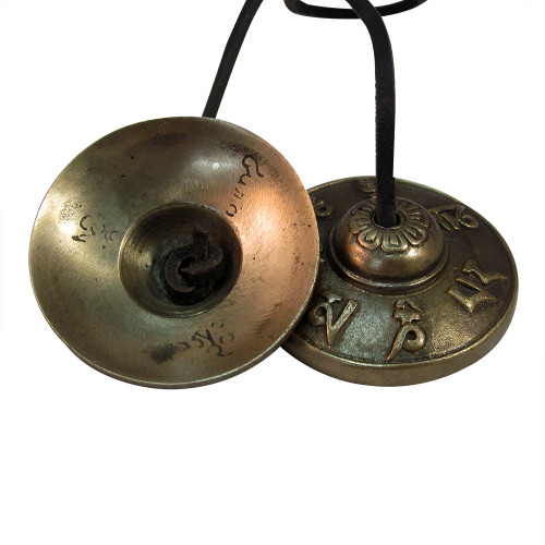"""3""""x1"""" Bronze Percussion Cymbals with Tibetan Characters Embossing Manjira - Image 2"""