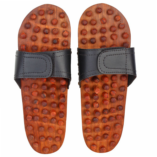 """10""""x4"""" Handmade Wooden Acupressure Slippers with Adjustable Strap in Brown Color - Image 2"""