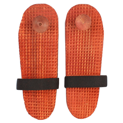 """11""""x4"""" Handmade Wooden Acupressure Slippers with Elastic Strap Brown Color - Image 2"""