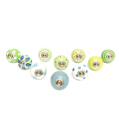 """Trumiri Assorted Green and White Cream Ceramic Pottery Hand Painted Knobs, Multicolor, Drawer Pull Diameter 1.6"""" (40 mm) - Set of 10"""
