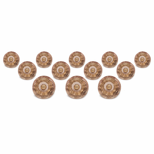 """Trumiri Clear Crystal Glass Hand Painted Ceramic Knobs, Light Brown color, Drawer Pull Diameter 1.6"""" (40 mm) - Set of 12"""