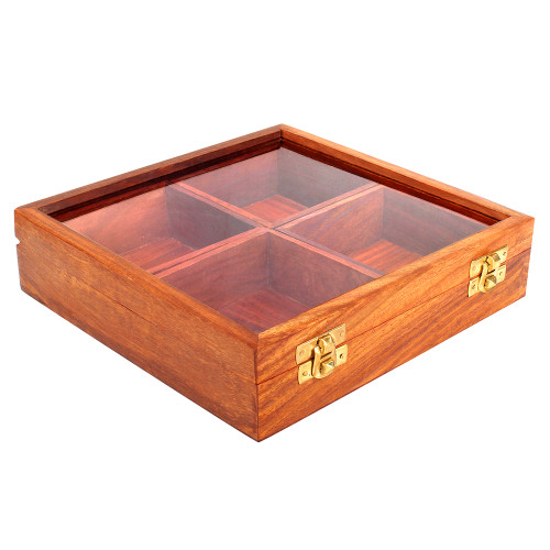 """8""""x8""""x2"""" Handmade Wooden Multi Purpose Box with 4 Removable Storage Sections - Image 2"""