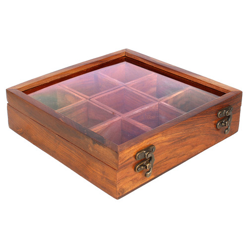 """8""""x8""""x3"""" Handmade Wooden Spice Box with 9 Removable Wooden Storage Sections - Image 2"""